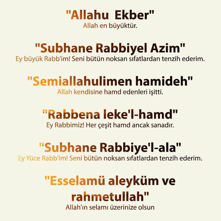 """""""Allahu  Ekber"""" Allah en büyüktür.  """"Subhane Rabbiyel Azim"""" Ey büyük Rabb'im! Seni bütün noksan sıfatlardan tenzih ederim.  """"Semiallahulimen hamideh"""" Allah kendisine hamd edenleri işitti.  """"Rabbena leke'l-hamd"""" Ey Rabbimiz! Her çeşit hamd ancak sanadır.  """"Subhane Rabbiye'l-ala"""" Ey Yüce Rabb'im! Seni bütün noksan sıfatlardan tenzih ederim.  """"Esselamü aleyküm ve rahmetullah"""" Allah'ın selamı üzerinize olsun"""