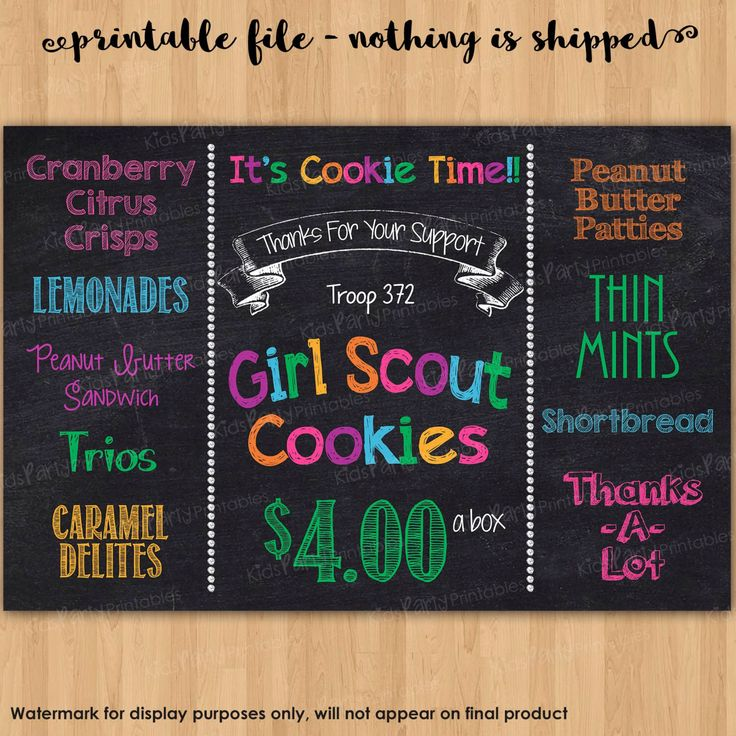Girl Scout Cookies Sign, Girl Scout PRINTABLE, 2016 Girl Scout Cookie Booth Sign, Girl Scout Cookie Printable Chalkboard Poster Banner Sales by KidsPartyPrintables on Etsy https://www.etsy.com/listing/267926203/girl-scout-cookies-sign-girl-scout
