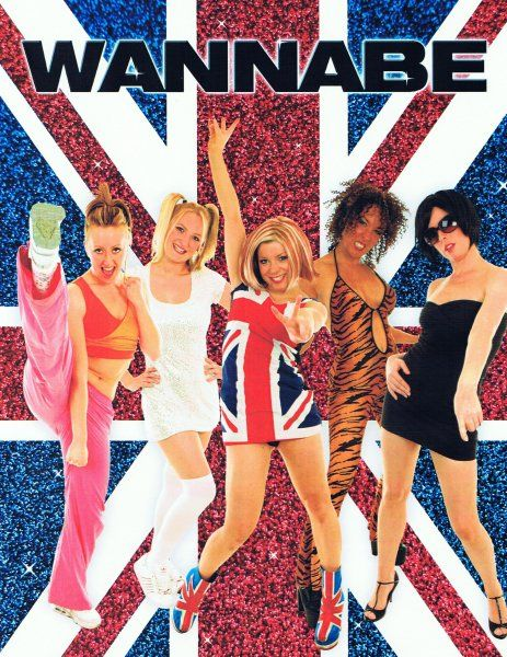 """""""Wannabe"""" is the debut song by British pop group Spice Girls. Written by the group members with Matt Rowe and Richard Stannard during the group's first professional songwriting session and was released november 1996. The group consisted of five girls: Victoria Adams, Melanie Brown, Melanie Chisholm, Geri Halliwell, and Michelle Stephenson"""