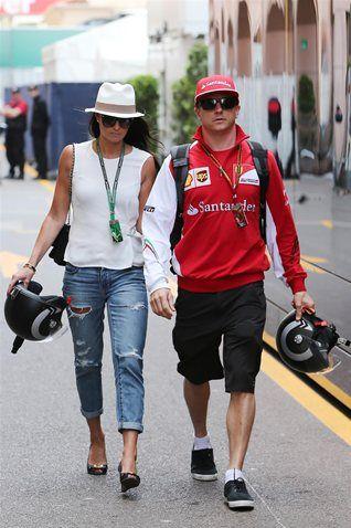 Kimi Raikkonen Scuderia Ferrari with his girlfriend Minttu Virtanen Monaco GP 2014