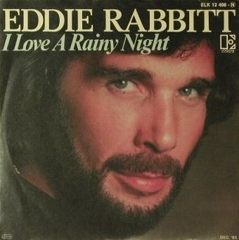 1981, Country music star Eddie Rabbitt crossed over to the Pop chart to score a US No.1 hit with 'I Love a Rainy Night'. He had earlier written the Elvis Presley smash 'Kentucky Rain' before having a No.5 hit with 'Drivin' My Life Away'. Although it sounds like he made up a stage name, his real name is Edward Thomas Rabbitt.