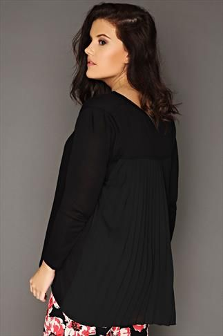 Black Knitted Jumper With Chiffon Pleated Back Panel
