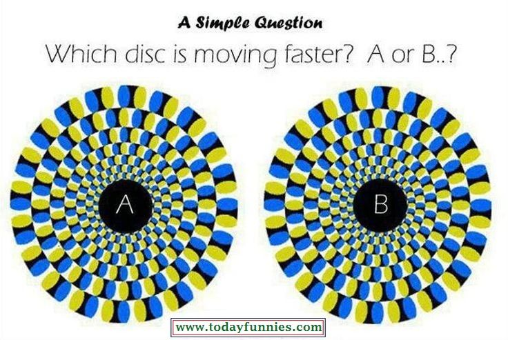 """This Picture Is Taken From Funny Poon. This Is Very Funny And Amazing Picture Of Two Static Discs. But When We Put Our Eyes On These Discs It Looks That The Discs Are Moving. In This Funny Picture…We Have To Asked A Question About These Discs """"Which Disc Is Moving Faster…? A or B…?"""" What Is Your Answer About This Question…?"""