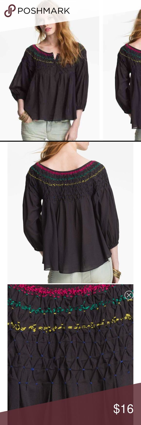 Free People Embroidered boho peasant blouse Hand-hewn embroidery accents the diamond-smocked yoke that volumizes a soft peasant blouse. Lantern sleeves provide the perfect complement to the airy silhouette.  •Blouse was never worn and still has tags attached. •Some of the stitching is a bit loose and one stitch came apart (see last pic). I purchased it this way from Nordstrom rack. Overall, the top is still in good condition and this detail does not effect the style or look of the top!  •The…