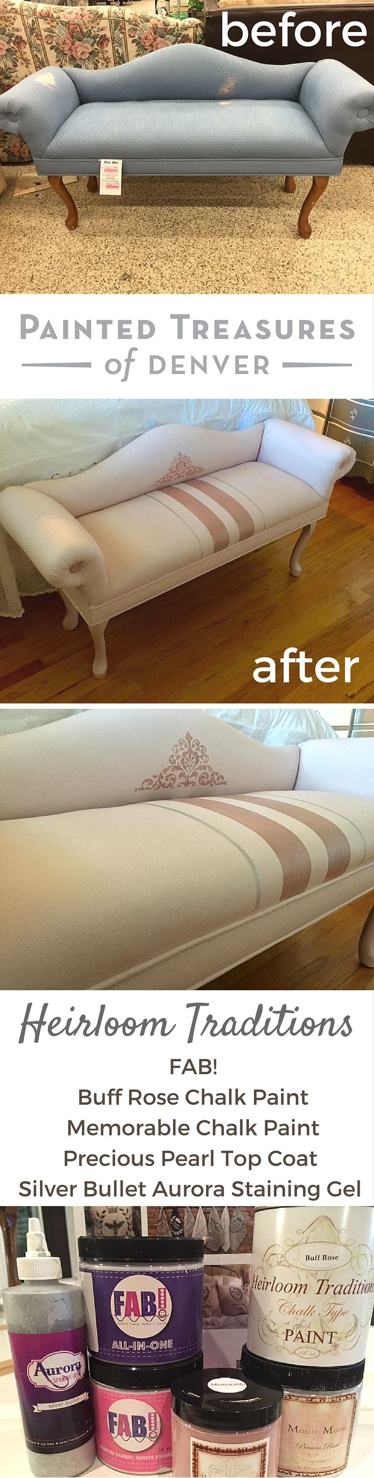 "You can paint fabric and upholstery! I gave this settee a facelift using Heirloom Tradition's FAB! & the colors Buff Rose and Memorable. I add Precious Pearla Top Coat over the Memorable stripes for shimmer & Silver Bullet Aurora Staining Gel for the silver stripes. I used tinted FAB for the 1st coat & Clear FAB for the final coat. using a damp cling on brush & sanding in between each application with 3M 800 grit sandpaper. Sofa makeover! Use ""PAINTEDTREASURES"" code to save 10% on these…"