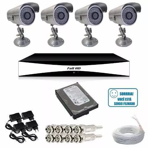 Kit Vigilância 4 Câmeras Infravermelho 800l Ip66 Dvr Jfl P2p - R$ 616,00