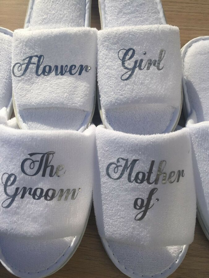 088d42f4e Mother of the bride slippers bridal party spa slippers personalised custom  made slippers bridal