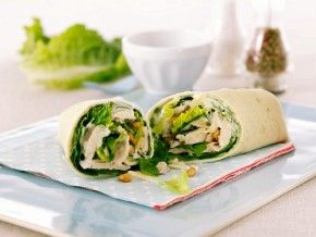 Bored with your usual #lunch? #WrapItUp with a #Chicken and Pine Nut #Wrap with homemade Tahini Yogurt Dressing