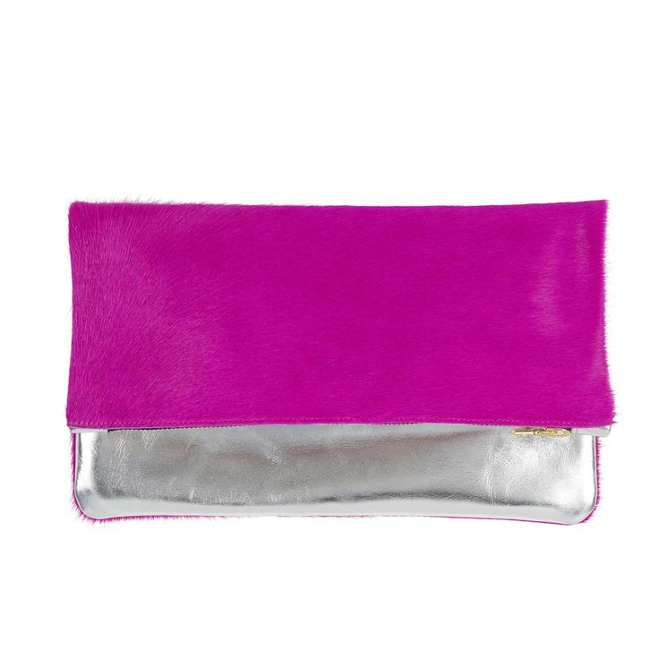 Sarah Baily | Bobby Pink/silver fold over clutch