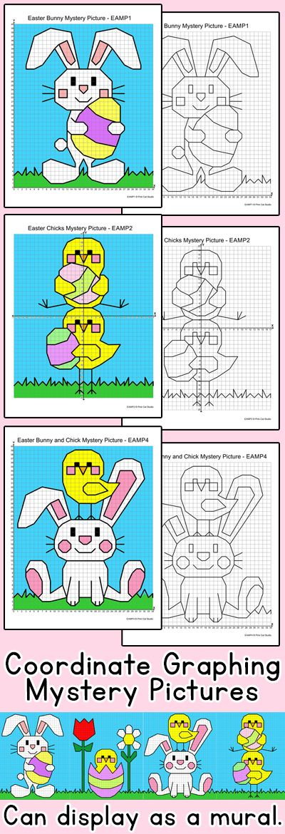 Practice plotting ordered pairs with these fun Easter bunnies and chicks coordinate graphing mystery pictures! This activity is perfect for math centers, early finishers or homework. By Pink Cat Studio
