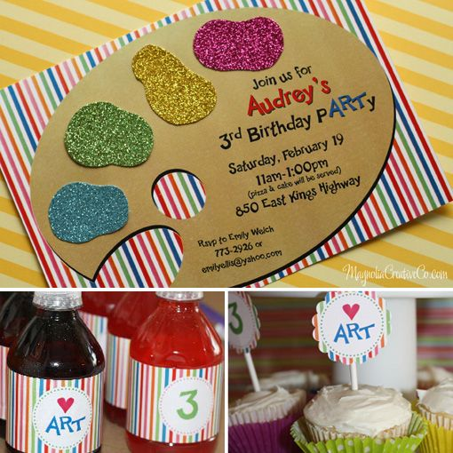 Cute printables for a kids party! I love the art party idea. By Magnolia Creative Co.