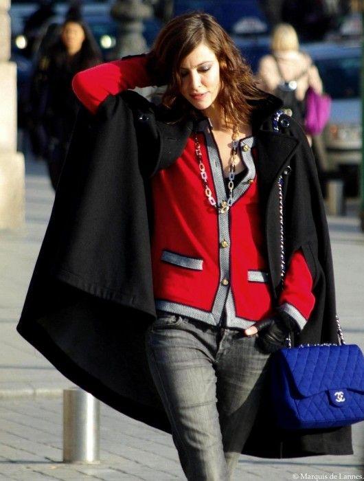 Anna Mouglalis red cardigan cape coat blue chanel