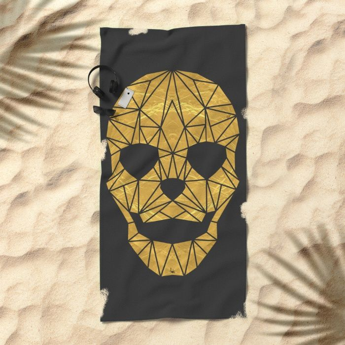 'The Golden Child' Towel by Fimbis | Society6 . . home decor, interiors, design, fashion, gold, skull, geometric, skeleton, symmetry, fashionista, interior design, beach, seaside, holidays, vacation,