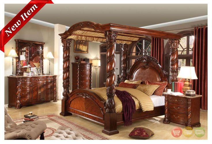 Castillo De Cullera Cherry Queen Size Canopy Bedroom Set | Canopy ...
