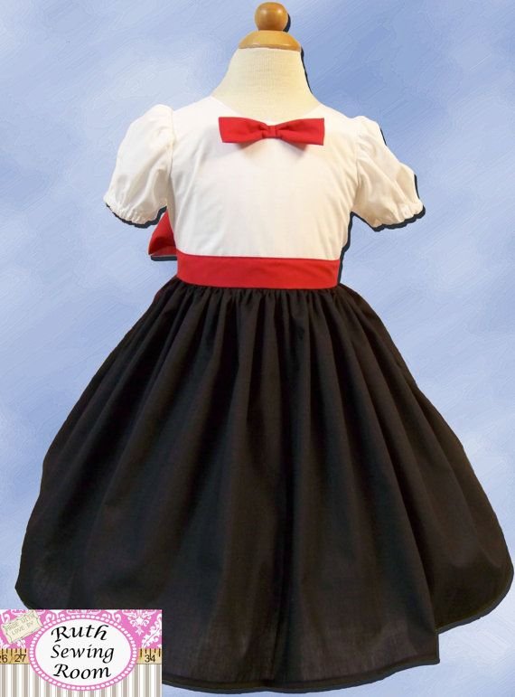 READY TO SHIP Mary Poppins Costume for Dress Up Children sizes 12m-- 12 years School Play, Pretend, Dress-up