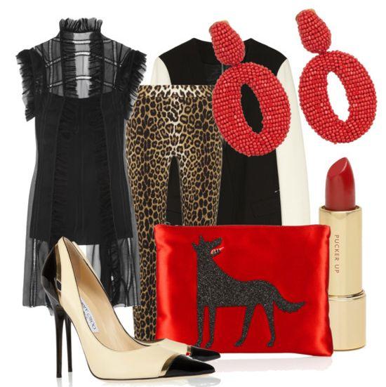 black + leopard + red
