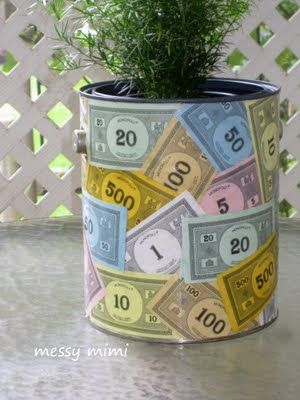 Cover one of buckets for MOPS centerpiece. Each of our tables has a small coordinating color bucket covered in money I copied onto regular paper.