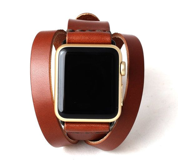 Apple Watch Double Tour Split Wrap Band | Whiskey Brown - Antique Brass Buckle/Loops | Full Grain Vegetable Tanned Leather