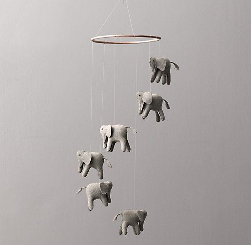Wool Felt Elephant Mobile - what a perfect accent to an elephant-themed nursery. #rhbabyandchild #fallinlove