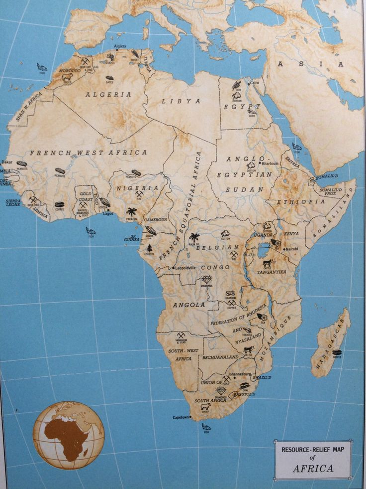 1954 AFRICA Resource Relief Map original vintage map