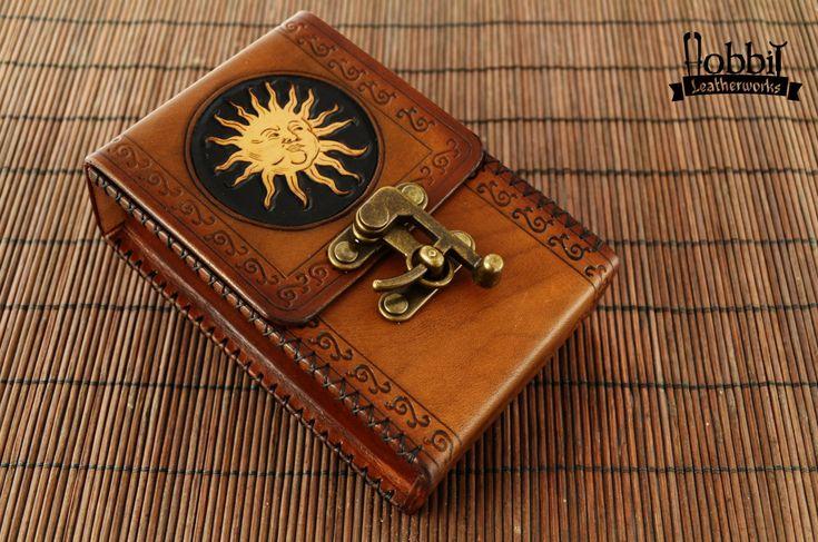 Tarot Leather Deck Box / Tarot Case / Tarot Bag / Leather Deck Box for Card / Solid Leather Deck Box /  Tarot Sun /Tarot Box by HobbitLeatherworks on Etsy