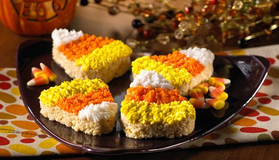 Colossal Candy Corn: Corn Recipes, Candy Corn, Rice Krispies, Candycorn, Coloss Candy, Halloween Food, Halloween Treats, Corn Rice, Rice Krispie Treats
