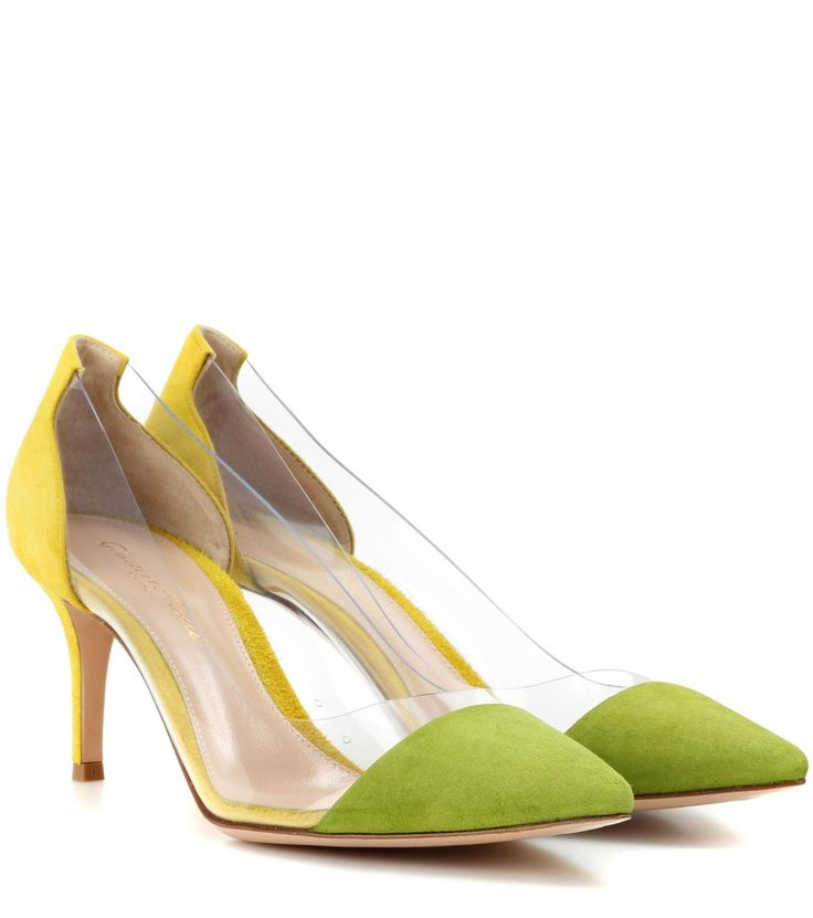 Gianvito Rossi - Plexi 70  suede pumps - Gianvito Rossi's Plexi 70 pumps are crafted from lemon and lime hued suede for a citrus-inspired lift to spring/summer ensembles. Balanced on a mid-height stiletto heel, this pair features a plexi mid-section for a D'Orsay-style illusion. Wear the flirty, point-toe look with lightweight, floral-printed dresses. seen @ www.mytheresa.com