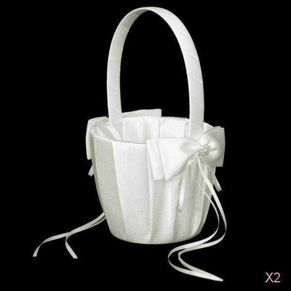 2pcs Ivory Satin Flower Girl Basket W Pearl Bow Decor Wedding Ceremony Supply #Unbranded