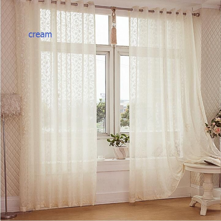 Free shipping modern rustic design jacquard organza tulle sheer curtain panel fabric for window door curtains
