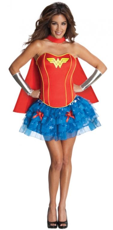 Wonder Woman Costume... only without the beauty pagent pose, and add a few battle scars: cause when you're saving the world sometimes you don't make every jump the first time.