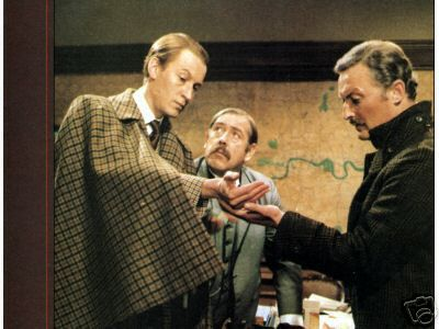 Geoffrey Whitehead as Sherlock Holmes, Patrick Newell as Inspector Lestrade and Donald Pickering as Doctor Watson