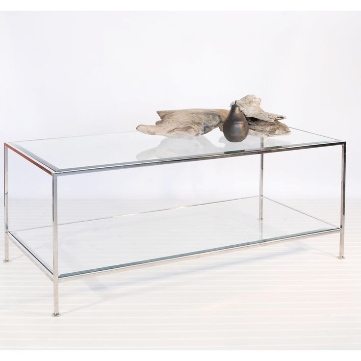 Sleek nickel finish with beveled glass shelves.  Want. This. Table!!