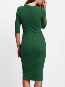 Зелёное миди платье с средним рукавом