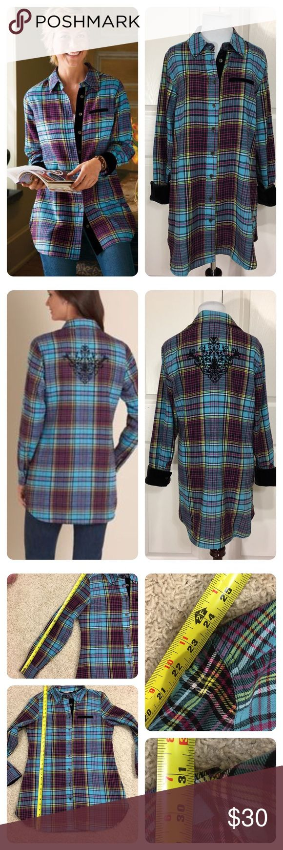 Soft Surroundings Highlands Flannel Tunic Shirt Highlands Flannel Tunic Shirt from Soft Surroundings! Multi-colored plaid with black velvet trim on collar and cuffs. Black velvet design on back of shirt. No flaws noted.   pink/yellow/green/blue/black plaid soft surroundings Tops
