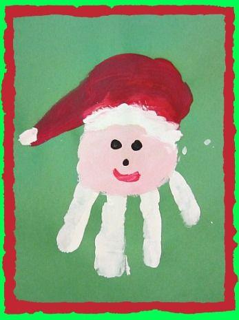 fall craft activities for toddlers kids children   Handprint Christmas Santa Craft and Santa Song   Kiboomu Kids Crafts