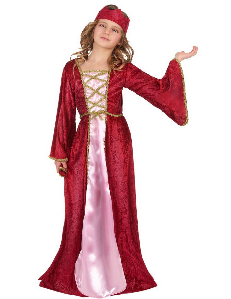 Este disfraz de reina medieval para niña se compone de un vestido fucsia de imitación de terciopelo bordado con ribetes dorados y un gorro a juego (zapatos no incluidos).    El vestido es largo sin cierre particular. El tejido frambuesa tiene efecto terci