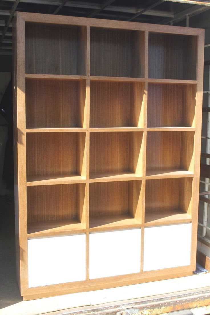 Local Made Tassie OAK Hardwood Cube Bookcase With White High Gloss Poly Doors   eBay