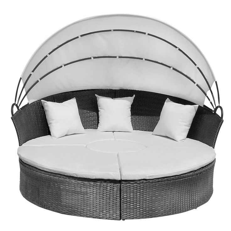 Jago RTSL03 Rattan Sun Day Bed with Table DIFFERENT COLOURS (Grey): Amazon.co.uk: Garden & Outdoors