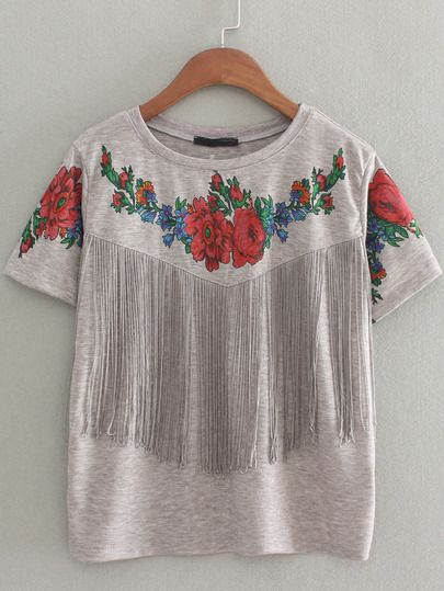 Grey Short Sleeve Floral Tassel T-Shirt