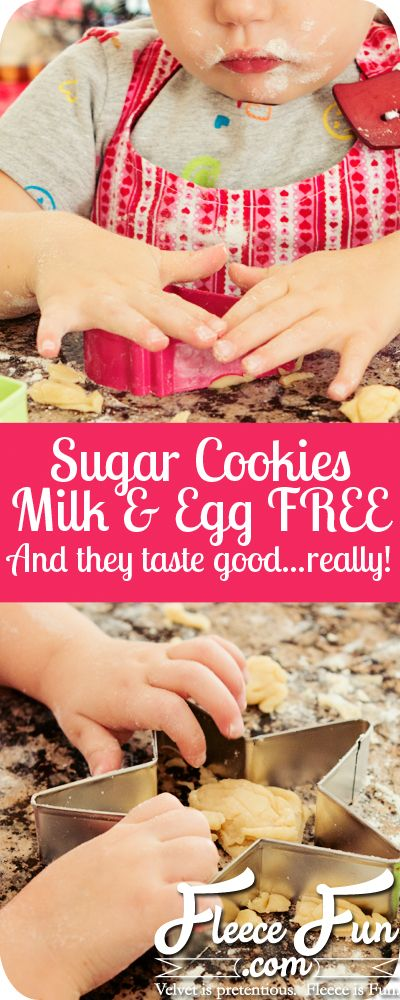 I love this recipe for milk and egg free sugar cookies!  Great for Allergies or not worrying if the kids snack on the dough while making cookies!