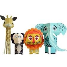 A giraffe, a monkey, a lion and a elephant.