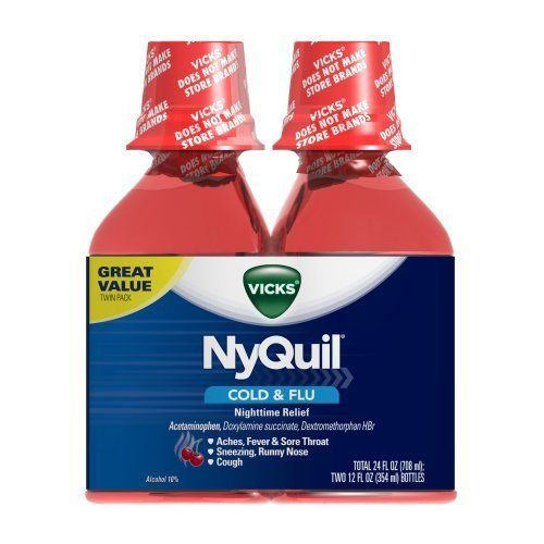 Vicks 44 Nyquil Cold and Flu Relief Liquid, Cherry, 24 Ounce (323900014305) Temporarily relieves common cold and flu symptoms including cough due to minor throat and bronchial irritation, sore throat, headache, minor aches and pains, fever, runny nose and sneezing Nyquil liquid is available in three flavors original, cherry and vanilla cherry swirl When using Dayquil or Nyquil products, carefully read each label to insure correct dosing use as directed keep out of reach of children