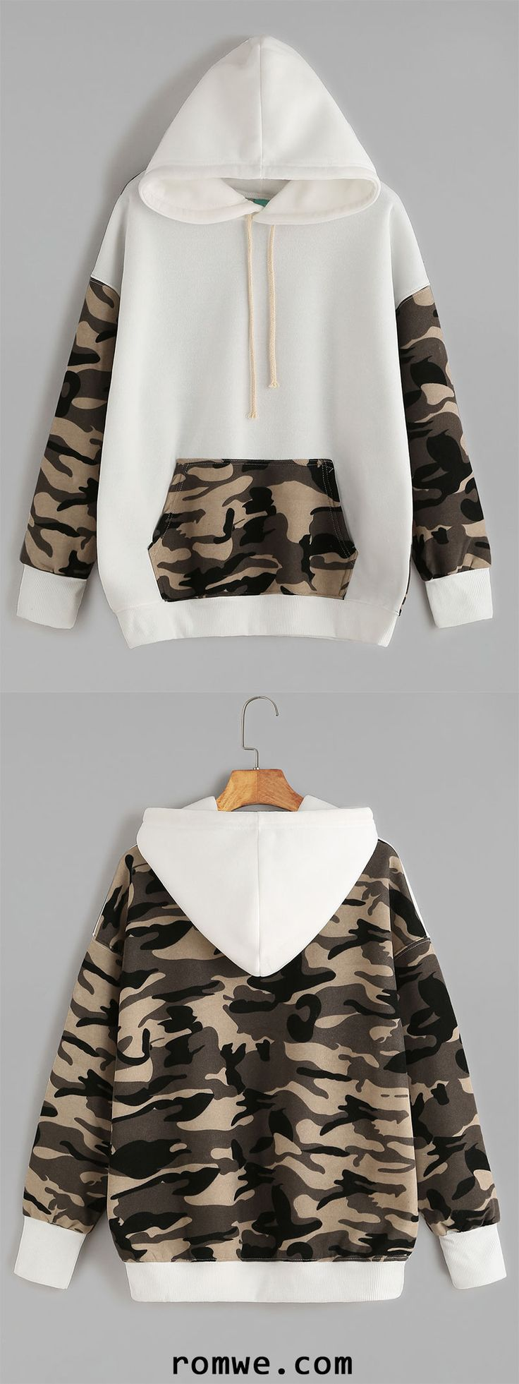 Beige Contrast Camo Print Drawstring Hooded Pocket Sweatshirt