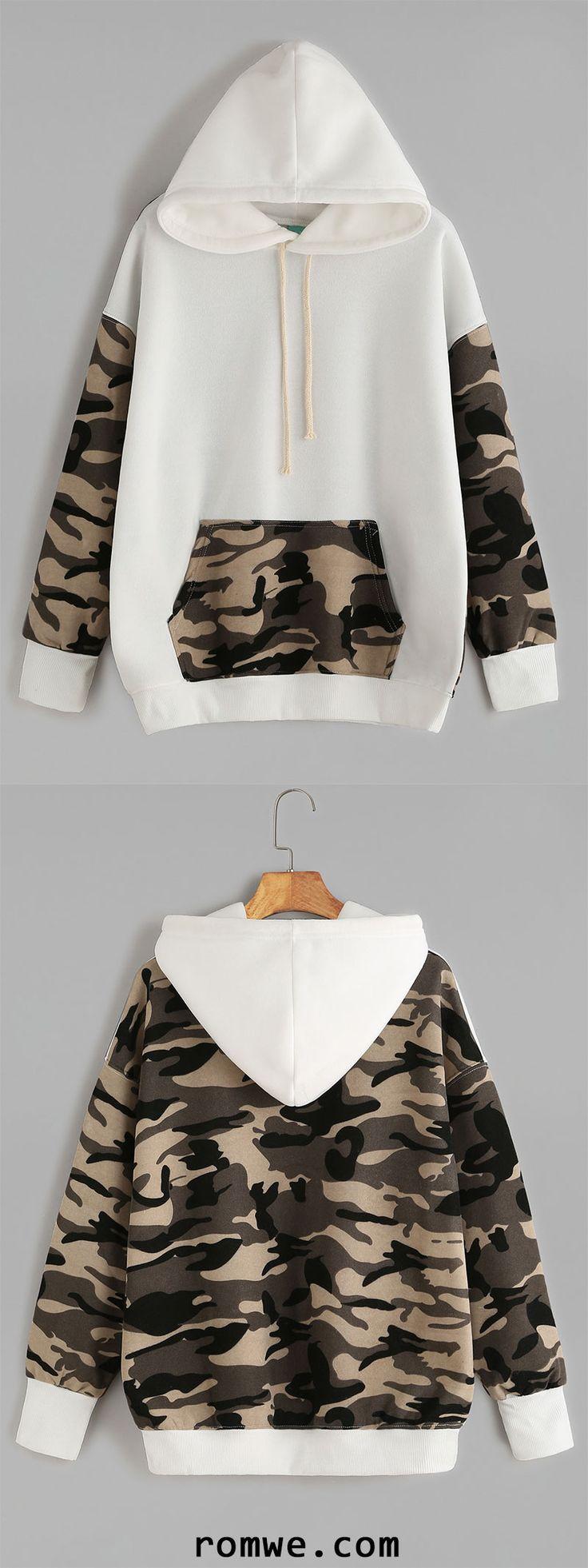 Beige Contrast Camo Print Drawstring Hooded Pocket Sweatshirt