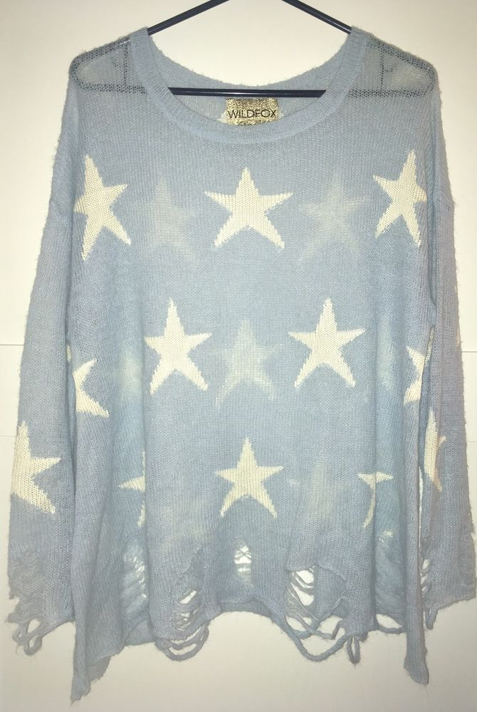 WILDFOX White Label Seeing Stars Summer Lennon Sweater Blue M    eBay