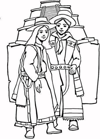 Azteeks meisje en jongen kleurplaat