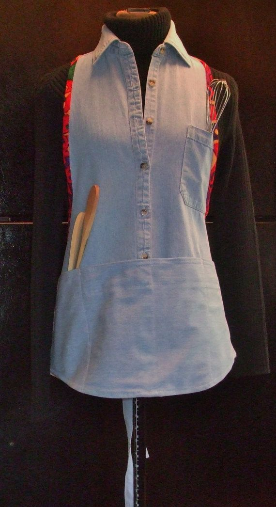 Apron, made from an up-cycled men's denim shirt with contrasting multi-color print trim.
