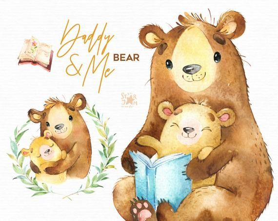 Daddy Me Bear Watercolor Animals Clipart Father Hugs Etsy Bear Watercolor Animal Clipart Watercolor Animals