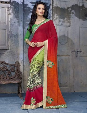 Pink & Orange Color Georgette Special Events Sarees http://www.shopcost.in/saree