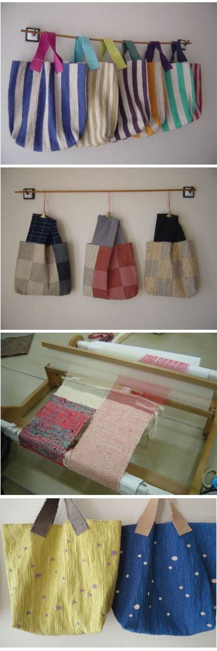 Sacs, link is bad,no pattern, but would be easy to make. Fabric and colors make these simple bags really nice.